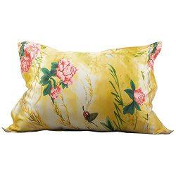 IBraFashion Silk Pillowcase for Hair and Skin Beauty Peony Flower Print Standard/Queen