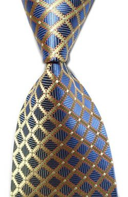 Secdtie Men's Classic Checks Light Blue White Jacquard Woven Silk Tie Necktie (One Size, B ...