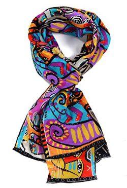 Salutto Women 100% Silk Scarf Van Gogh Monet Famous Painter Painted Scarves 23