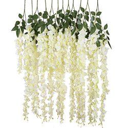 Luyue 3.18 Feet Artificial Silk Wisteria Vine Ratta Silk Hanging Flower Wedding Decor,6 Pieces,W ...