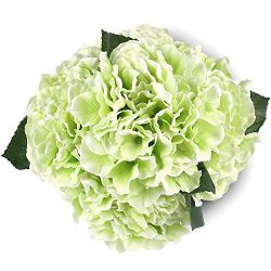 Soledi Artificial Silk Fake 5 Heads Beautiful Flower Bunch Bouquet Home  Decor Hydrangea (Green)