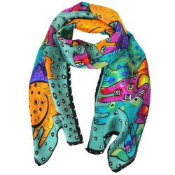 Wrapables Vibrant 100% Silk Long Scarf 51″ x 10.5″, Teal Cats and Dogs