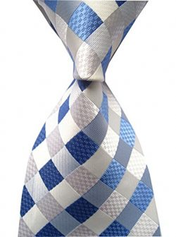 Allbebe Men's Classic Checks Light Blue Jacquard Woven Silk Tie Necktie, Blue, One Size