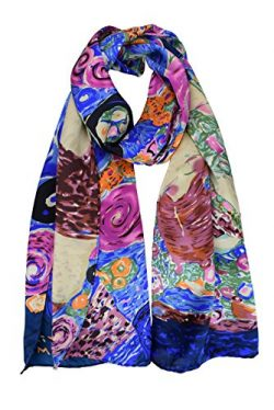 "Luxurious 100% Charmeuse Silk Long Scarf Hand Rolled Edge Gustav Klimt's ""The Virgin ..."