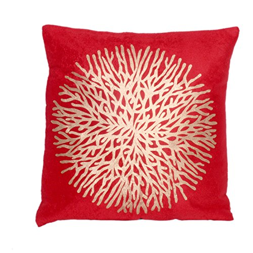 16x16 Decorative Pillow Covers : Indistar Silk Golden Print 16X16 Inches Red Throw Pillow Cases Decorative Cushion Covers ...