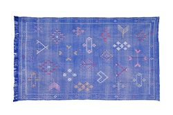 Moroccan Cactus Silk Rug, Hand Woven by Berbers from Morocco's High Atlas Mountains, 7&#82 ...
