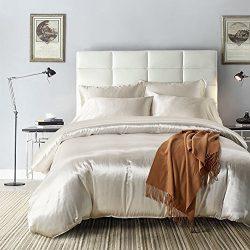 Yovoro Home Luxury Soft Satin Silk Reversible 4pcs Duvet Cover Set Bedding Set Queen Size White
