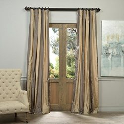 Half Price Drapes PTSCH-ST8005-96 Faux Silk Taffeta Stripe Curtain, Prague, 50″ x 96″