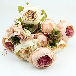 HeroNeo® 10 Head Bouquet Vintage Artificial Peony Silk Flower Room Wedding Floral Decor DIY (Bei ...