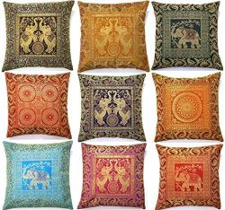10 Pcs Elephant Embroidery Pillow Covers, Banarsi Silk Brocade Bed/sofa Cushion Cover 16×16 ...