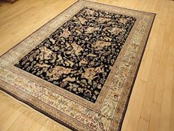 Silk Persian Traditional Rug Area Rugs 5×8 Rug Living Room Area Rug Navy Rug Dining Room Ru ...