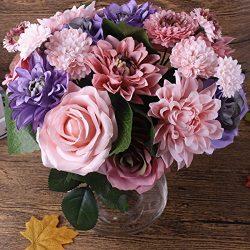 20 heads Artificial Flower Silk flower Rose Dahlia pinnata Cav. Cosmos Flower Fake Flower Faux F ...