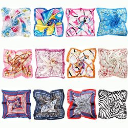 BMC 12pc Women's Silky Scarf Square Mixed Patterns & Colors Fashion Accessory Set &#82 ...
