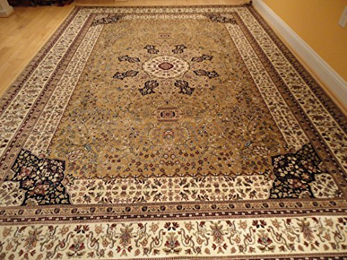 Luxury Silk Large Rugs Beige Area Rugs Traditional Persian