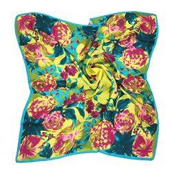 TONY & CANDICE Women's Graphic Print 100% Silk, Silk Scarf Square , 33X33 Inches (Yell ...