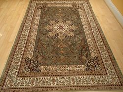 Luxury Green Rugs Silk Traditional Rug Persian Area Rugs Green 7×10 Rugs Isfahan Silk 6&#21 ...