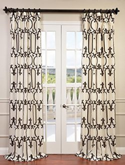 Half Price Drapes PTFFLK-C32-96 Flocked Faux Silk Taffeta Curtain, Royal Gate