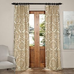 Half Price Drapes JQCH-2012614-96 Astoria Faux Silk Jacquard Curtain,Tan & Ecru,50 X 96
