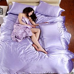 Wholesale Price Solid Color Mulberry Silk Quilt Cover Flat Sheet Silk Pillowcases Satin Duvet Co ...