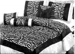 7 Piece Zebra King Size Comforter Set – Black and White – Faux Silk with Flocking