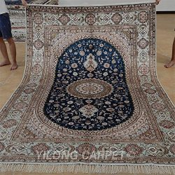 Yilong 6'x9′ Blue Hand Knotted Rugs Silk Traditional Persian Nain Floral Medallion H ...