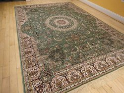 Stunning Qum Silk Area Rugs 5×8 Living Room Green Rugs 5×7 Dining Room Olive Cream Red ...