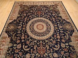 Luxury Silk Persian Area Rugs Navy Living Room Rugs 8×12 Area Rugs Navy Traditional 8× ...