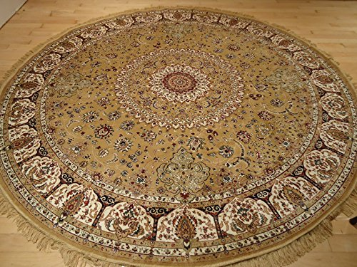 Persian silk gold round rug 6x6 circle shape rugs floor for Round area rugs for living room
