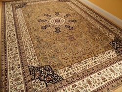 Luxury Silk Gold Rugs Traditional Rug 7×10 Living Room Size Rugs Turkish 6×9 Area Rugs ...