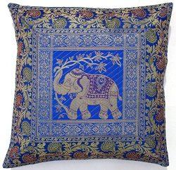 BEAUTIFUL Square Silk Home Decor Cushion Cover, Indian Silk Brocade Pillow Cover , Handmade Bana ...