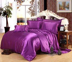 Lotus Karen Top Quality Luxury Silk Like Satin Bedding Set,1Duvet Cover,1Flat Sheet,2Pillowcases ...