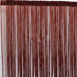 Olivefashion String Window Curtain w/Bead Sequin Fringe Room Divider Scarf