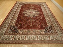 Luxury Red Silk Area Rugs for Living Room Traditional Area Rugs Dining Room 7×10 Red Rugs 6 ...