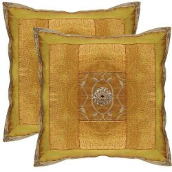 Ethnic Hand Embroidery Decorative Silk Pillow Cushion Cover Set of 2 Pcs Size 16 X 16 Inches / C ...