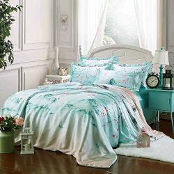 Zhiyuan Plum blossom and Mountain Silky Satin Duvet Cover Flat Sheet Pillowcases Set Queen Size