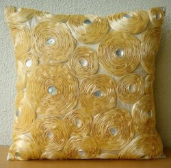 Handmade Gold Cushion Covers, Ribbon Gold Rose Flower Floral Theme Throw Pillows Cover, 16&#8243 ...