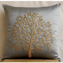 Luxury Silver Grey Pillows Cover, Colorful Beaded Tree Pillows Cover, 20″x20″ Decora ...