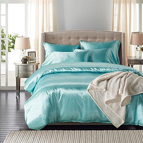homigoo 3pcs silk like fabric summer cool bedding set solid comforter cover queen light blue. Black Bedroom Furniture Sets. Home Design Ideas