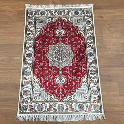 Yilong 2'x3′ 100% Hand Knotted Silk Rug Handmade Tabriz Persian Oriental Traditional ...
