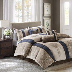 Donovan 7 Piece Jacquard Comforter Set Navy King