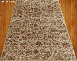 Homemusthaves Beige Cream Brown Red Green Traditional Floral Faux Silk Rug Carpet (5X7)