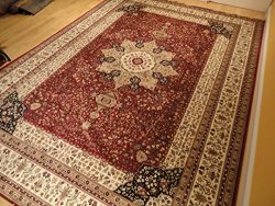 Luxury Red High Dense Silk Rugs Traditional Red Large Area Rugs 8×12 Living Rooms Rug 8&#21 ...