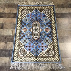 Handmade Qum Traditional Persian Silk Rug Vintage Hand Knotted Oriental Medallion Carpet (2-Feet ...