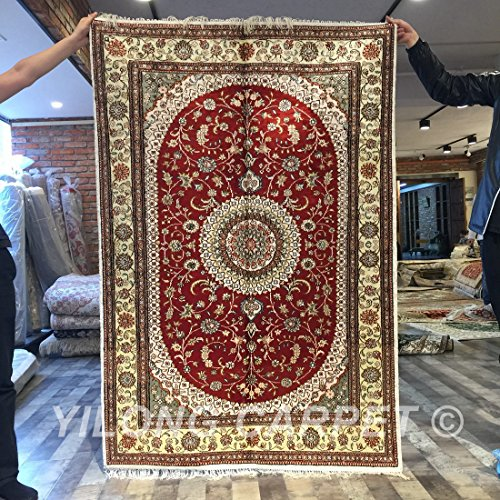 Yilong handmade traditional qum persian silk rug vintage hand knotted oriental medallion living - Deluxe persian living room designs with artistic rug collection ...