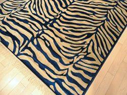 Luxury Soft Silky Zebra Entrance Rug Washable Bathroom Rug Kitchen Rug 2×4 Navy and Beige Z ...