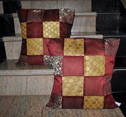 Jaipuri Handmade Patchwork Silk Cushion Cover Home Decor 16 X 16 Inches Set Of 2 Pcs