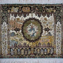 Yilong Carpet Traditional Handmade Persian Silk Rug Hunting Animal Wall Hanging Handwoven Orient ...