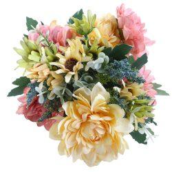 Soledi Artificial Silk Fake 10 Heads Flower Bunch Bouquet Floral Decor European Chrysanthemum (Pink)