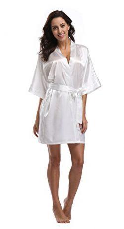 Luvrobes Women's Satin Kimono Robe, Solid Color, Short (M, White)