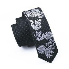 jacob alex #39867 Classic Skinny Tie Slim Neckwear Women Silk Neck Black White Floral Tie